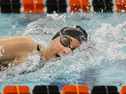 West York's Courtney Harnish shown during her PIAA winning/record breaking swim. GameTimePA.com file.