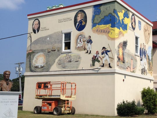 The front and side sections of the mural in Somers