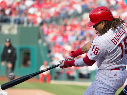 Philadelphia Phillies' Emmanuel Burriss at bat during the seventh inning of an opening day baseball game against the San Diego Padres, Monday, April 11, 2016, in Philadelphia. The Padres won 4-3. (AP Photo/Chris Szagola)