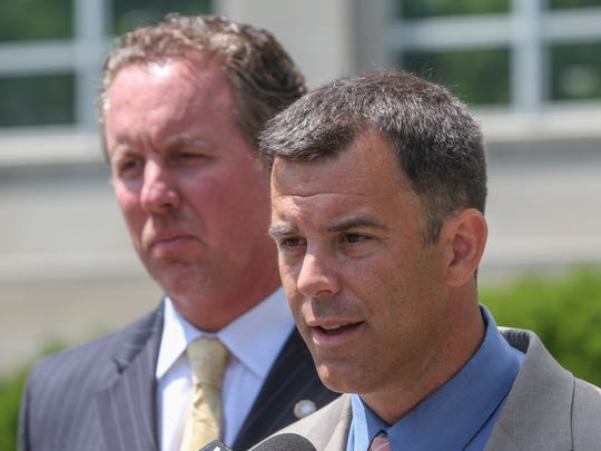 Freehold,  NJ      (L)  Marc LeMieux 1st assistant prosecutor and Monmouth County Prosecutor Christopher Gramiccioni hold a press conference after the first appearance of Philip Seidle, a Neptune police officer charged with the murder of his wife Tamara in Asbury Park.  Seidle, while off duty, shot his wife multiple times killing her. 061715 Photo: Tom Spader/staff