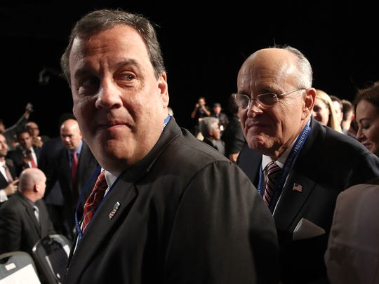 Rudy Giuliani  and Chris Christie attend the presidential