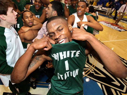White Station's Joe Jackson celebrates the TSSAA class AAA state championship after defeating Raleigh Egypt in overtime Saturday March 21, 2009 in Murfreesboro, TN.  Jackson was MVP of the game.