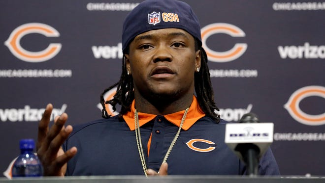 Linebacker Danny Trevathan talks to the media during a news conference after signing with the Chicago Bears, Thursday, March 10, 2016, in Lake Forest, Ill. (AP Photo/Nam Y. Huh)