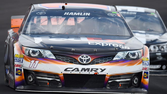 Denny Hamlin finished third Sunday at Indianapolis but faces possible penalties from NASCAR on Tuesday.