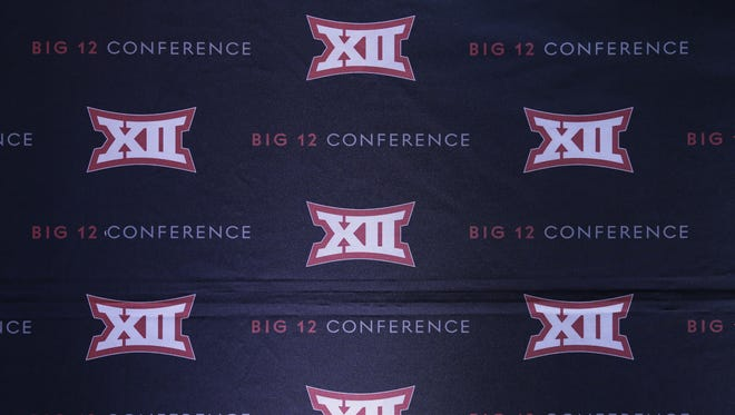 The Big 12 sports conference logo is shown in Irving, Texas, Thursday, June 2, 2016.