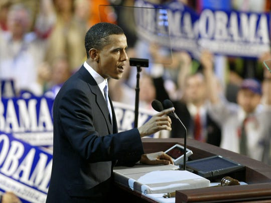 Then-Illinois state Sen. Barack Obama gives the keynote