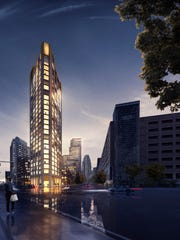 Dan Gilbert's Monroe Block project will be anchored on the eastern end by this slim residential apartment tower.