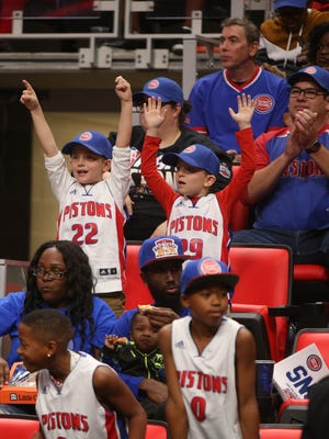 Detroit Pistons fans watch the action during the Meet the Team event at Little Caesars Arena on Tuesday, Oct. 3, 2017.