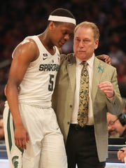 Michigan State head coach Tom Izzo and Cassius Winston