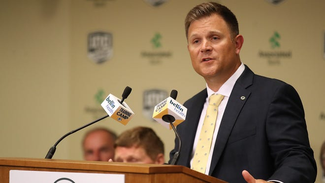 Packers general manager Brian Gutekunst talks during the Green Bay Packers Annual Meeting of Shareholders at Lambeau Field Wednesday, July 25, 2018 in Green Bay, Wis.