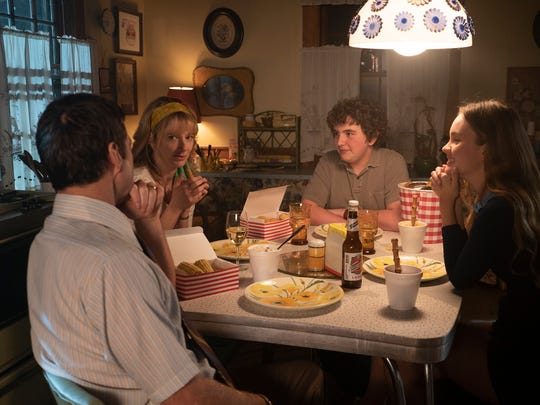 """Measure of a Man"" stars (from left) Luke Wilson, Judy Greer, Blake Cooper and Liana Liberato."