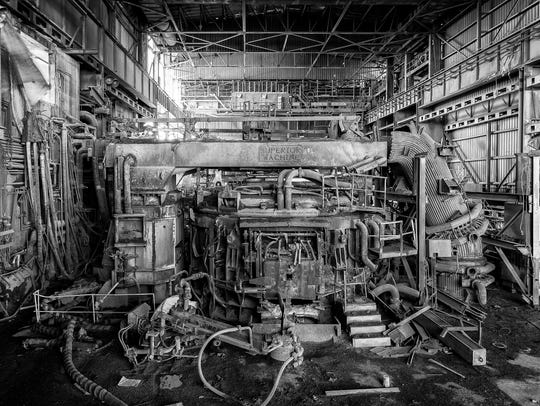 Black and white machinery at Gerdau Ameristeel in Sayreville,