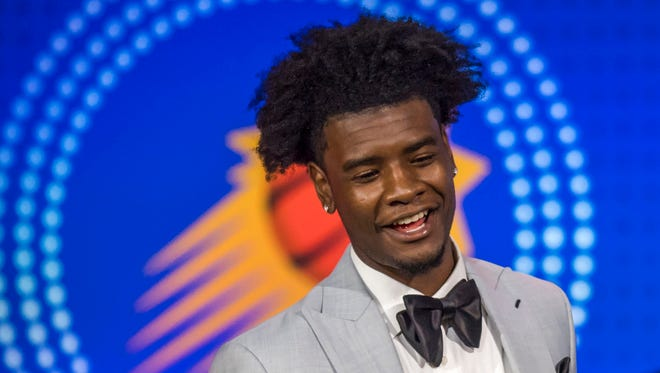 May 15, 2018: Phoenix Suns player Josh Jackson reacts after receiving the number one pick during the 2018 NBA Draft Lottery at the Palmer House Hilton.