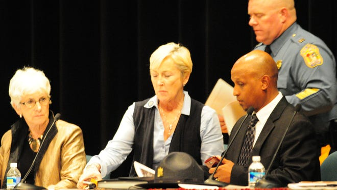 From left, Indian River School District Superintendent Dr. Susan Buntin, State Rep. Ruth Briggs-Kin, Pastor Dexter Taylor and Captain Rodney Layfield at a community relations meeting at Indian River High School on Thursday, Oct. 27.