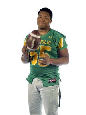 Nelson Hale, No. 55 of the Pensacola Catholic Crusaders.