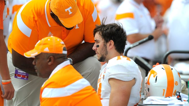 Tennessee quarterback Justin Worley missed one quarter with an elbow injury.