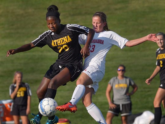 Greece Athena's Waniya Hudson, left, was named All-Monroe