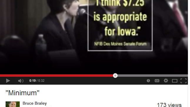 This is a screen shot of U.S. Rep. Bruce Braley's new anti-Joni Ernst television spot, airing in Iowa today, July 29, 2014.