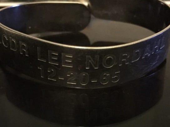 A POW/MIA bracelet worn by Lynn Michaels for 47 years
