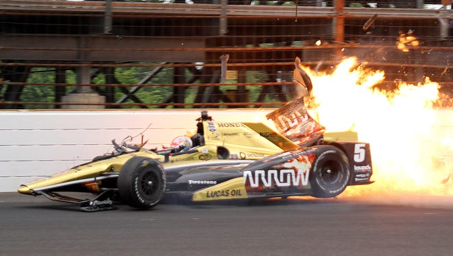 James Hinchcliffe hit  the wall extremely hard coming out of turn 3 Monday.