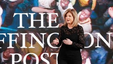 """Arianna Huffington, co-founder and editor in chief of """"The Huffington Post,"""" speaks during the AOL 2015 NewFronts conference on April 28, 2015, in New York City."""