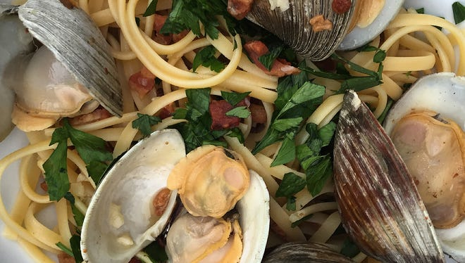 Liz Johnson's recipe for Linguine with Clams is made with bacon, garlic, chicken broth and parsley.