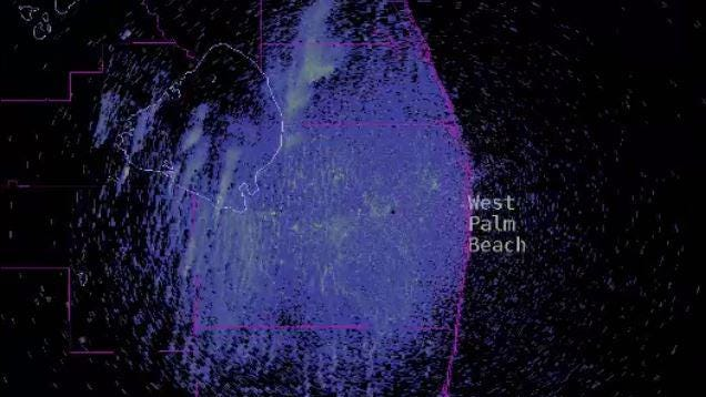 Smoke is seen billowing from areas south of Lake Okeechobee in this still image taken from a Terminal Doppler radar loop at Palm Beach International Airport. Courtesy William Churchill, NWS Key West
