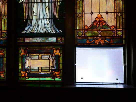 A single stained glass window is missing from Drummondtown