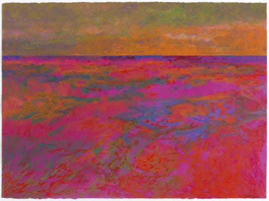 """""""Spirit Path, New Day, Red Rock Variation: Lake Superior Landscape"""" by George Morrison, 1990. Acrylic and pastel on paper, 22 1/2 x 30 1/8 in. Part of the exhibit """"Modern Spirit: The Art of George Morrison"""" at Heard Museum."""