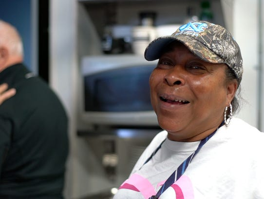 Mary Littlejohn works in the kitchen at the Downtown