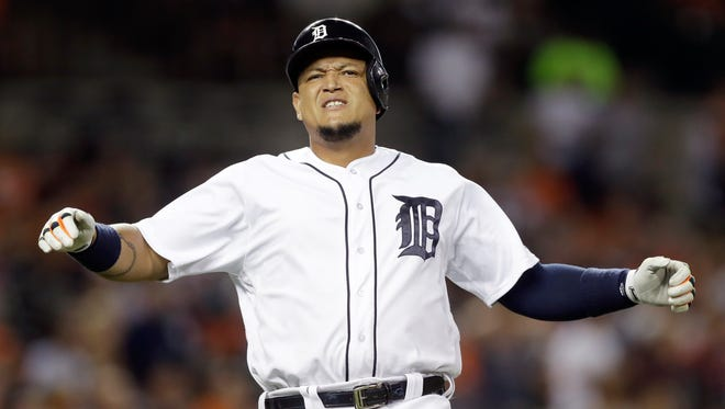 Detroit Tigers first baseman Miguel Cabrera reacts after lining out during the fifth inning against the Chicago White Sox on Monday, Aug. 29, 2016, in Detroit.