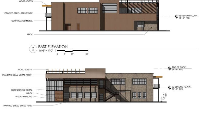 An elevation shows the proposed M Street restaurant building at 10 11th Ave. S. in the Gulch.