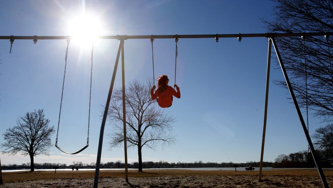People enjoy record-setting February weather in Waterford, Michigan.