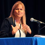 Rita Pritchett, running for County Commission District 1 addresses the crowd on the issues of Brevard County during Thursday nights candidate forum held at the Berard W. Simpkins Fine Arts Center on the campus of Eastern Florida State College .