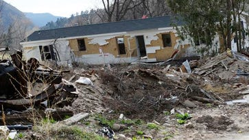 LYONS, CO - April 1: The remnants of a mobile home trailer sits in the mobile home park that was destroyed by the flood in the 2013 on Wednesday, April 1,2015 in Lyons, Colorado. The 2013 flood in the city of Lyons still has some rebuilding while others in the city are being forced to permanently relocated after not being able to afford to rebuild their homes or find affordable housing in the city. Many of the displaced after long residents who built their lives and even own businesses in the area, but are forced to community from surrounding cities like Loveland and Mead. (Photo By Brent Lewis/The Denver Post)