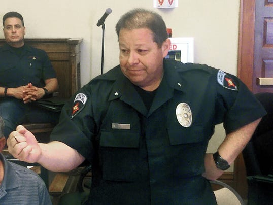 Bill Armendariz - Headlight Photo   Matthew Elwell, director at the Luna County Detention Center, shows how a screw that was confiscated as contraband from a cell could be used as a lethal weapon. The demonstration took place during Wednesday's  Critical Incident Review at the Luna County Courthouse.