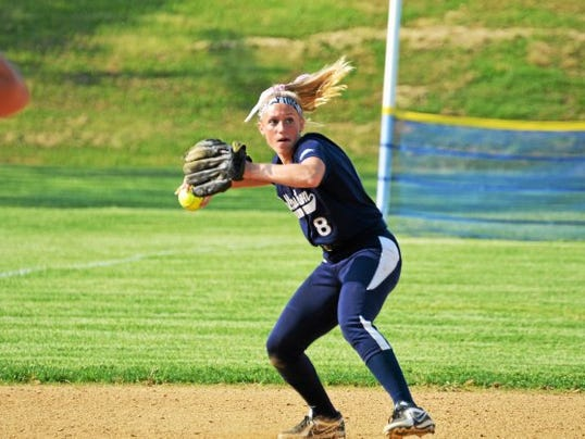 Dallastown's Maggie Noll throws to first for a force out during Daniel Boone's 1-0 victory in a first-round matchup in the District 3 Class AAAA tournament on Tuesday.