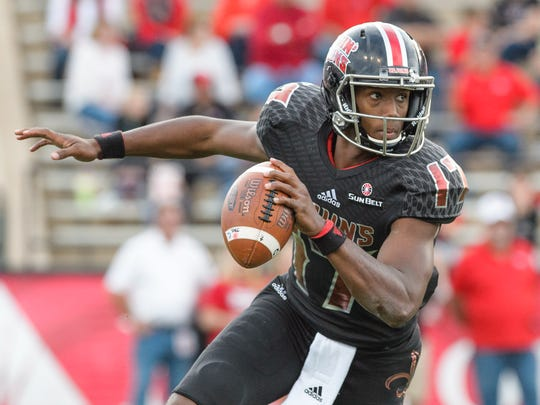 UL quarterback, shown here against Georgia Southern in 2017, is the top contender to start for the Ragin' Cajuns in 2019.