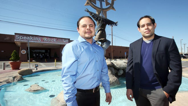 Ysleta del Sur Pueblo Gov. Carlos Hisa, left, and Lt. Gov. Christopher Gomez stand Tuesday outside Speaking Rock Entertainment Center at 122 S. Old Pueblo.