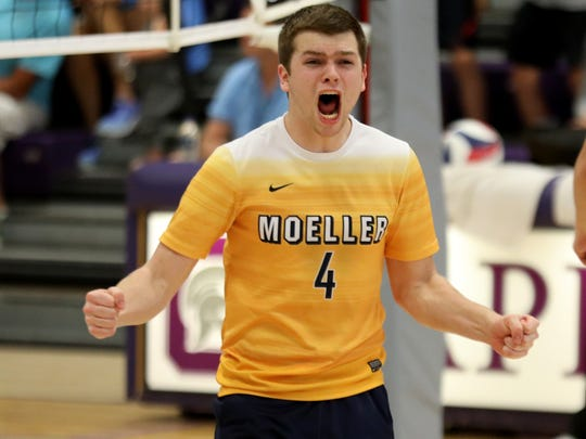 Moeller's Donovan Peed reacts during the Crusaders' win over Darby, Sunday, June 3, 2018.