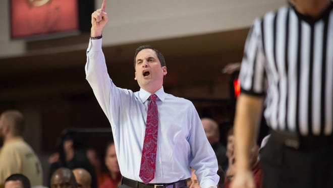 Iowa State Cyclones head coach Steve Prohm reacts against the Oklahoma State Cowboys during the first half at Gallagher-Iba Arena.