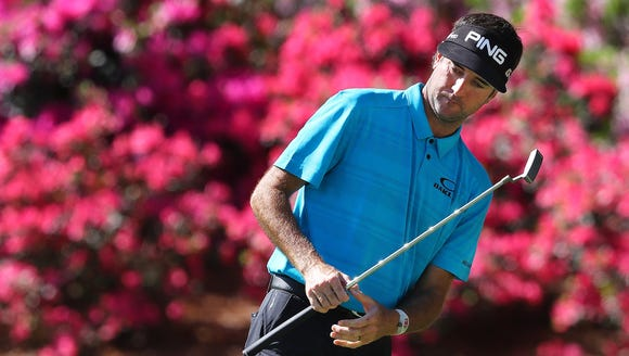 Two-time Masters champion Bubba Watson reacts to just