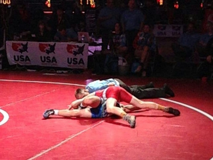 North Henderson rising sophomore Josh Blatt pinned his last opponent on Monday in Fargo, N.D.
