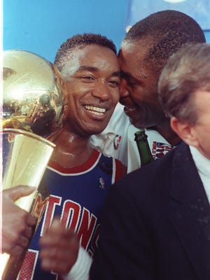 Isiah Thomas after winning the 1988-89 NBA championship with the Detroit Pistons.
