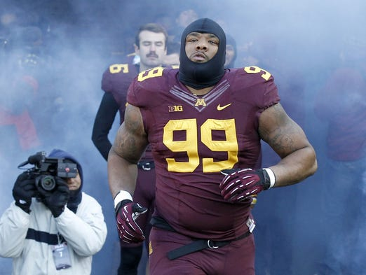 Minnesota defensive lineman Ra'Shede Hageman (99) was a disruptive force for the Golden Gophers last season despite only playing defensive tackle for only three seasons.