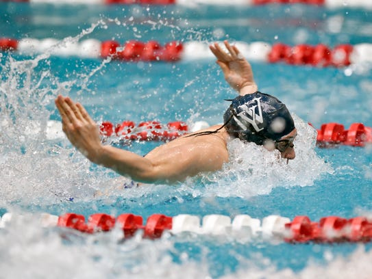 West York's Courtney Harnish swims the butterfly in