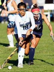 West Morris' Alex Belen vs. Chatham in a NJSIAA North 1 Group III field hockey semifinal. West Morris won 2-1 in overtime. October 31, 2017. Chester, New Jersey
