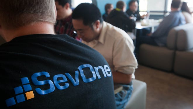 Employees lunch at SevOne's Technology and Innovation Center at the University of Delaware STAR Campus in Newark.