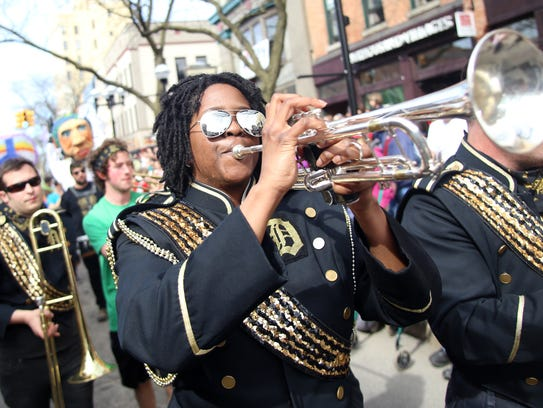 The Detroit Party Marching Band performs Tuesday in