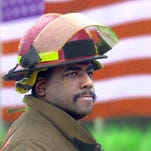 Cincinnati firefighter Daryl Gordon, a 30-year veteran, was killed this morning as he searched for victims in a four-alarm fire in Madisonville. Thursday, March 26, 2015. Cincinnati firefighter Daryl Gordon, a 26-year veteran, was killed this morning as he searched for victims in a 4-alarm fire in Madisonville. This image is from a monitor at City Hall during the press conference with Mayor John Cranley and others.